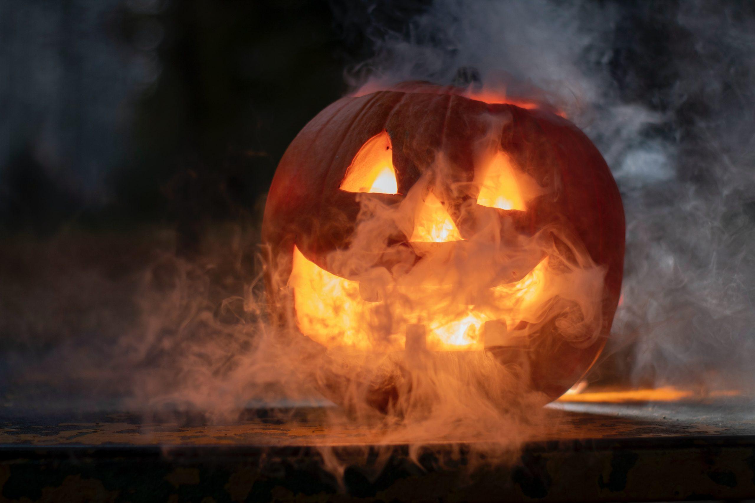 Pumpkin with smoke